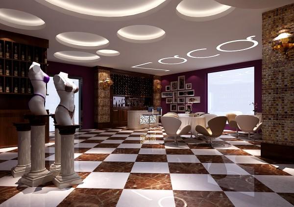 吧台,各种风情的内衣产品展示。紫色是高贵神秘的颜色,代表高贵,魅力,神秘且是一种让人不忍忘记的颜色
