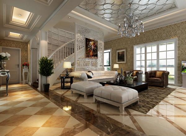 郑州实创装饰-中鼎翡翠245平复式-客厅效果图