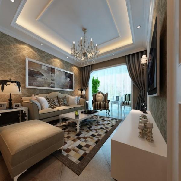 郑州实创装饰-阳光城88平两居室-客厅整体效果图