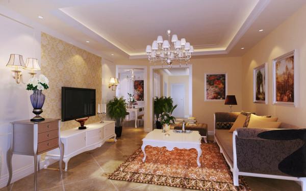 客厅:电视背景墙采用传统欧式护墙造型结合布艺硬包的方式整体演绎,简化复杂的线条,以直线的方式勾勒出严禁对称的造型轮廓,彰显雅致高贵的品质感,墙面采用米黄乳胶漆整体饰面,营造沉稳大气的氛围。
