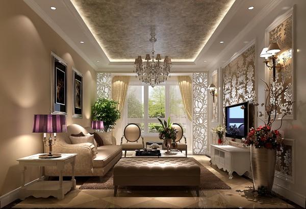K2百合湾美式风格客厅效果图。