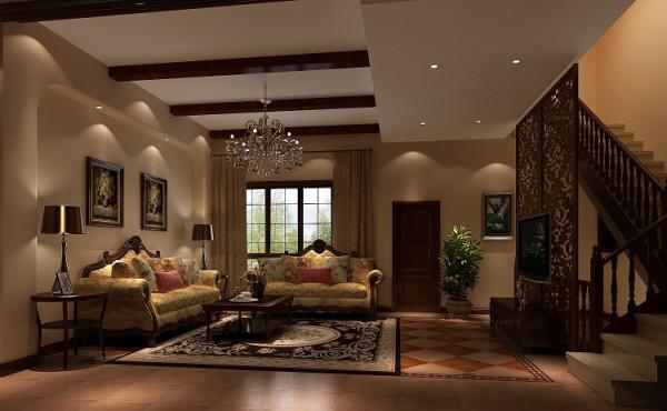 龙湖香醍漫步300㎡托斯卡纳风格客厅效果图。