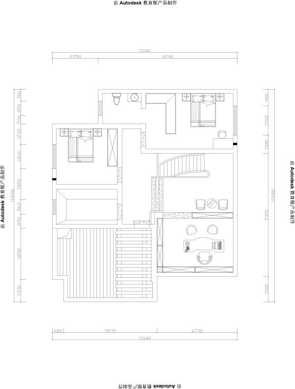 郑州实创装饰-中鼎翡翠245平复式-二楼平面布置图