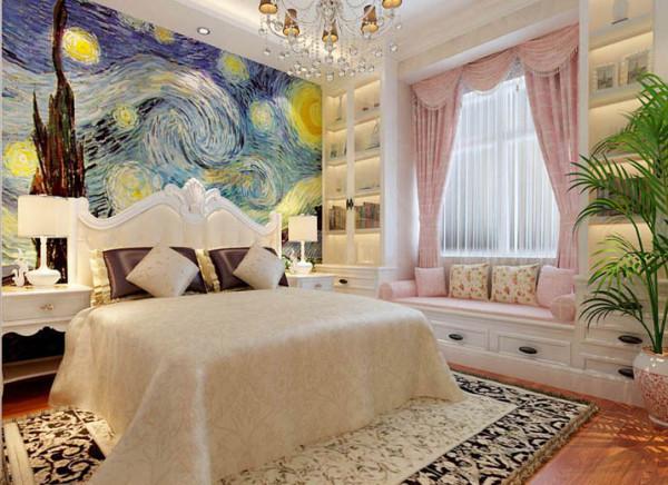 白色欧式家具搭配定制的蓝色调的抽象床头壁纸 ,充分体现出业主的个性。
