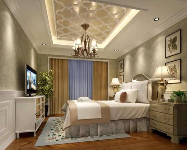 卧室设计:软装墙纸布艺是主角,再搭配一些雕花和墙面造型和整个的风格相呼应相协调...