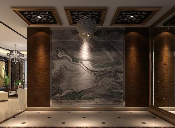 门厅  大理石纹与胡桃木的完美结合,彰显门厅的精致