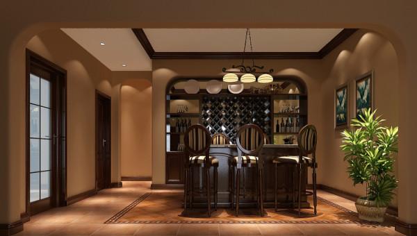 龙湖香醍漫步300㎡托斯卡纳风格酒吧效果图。