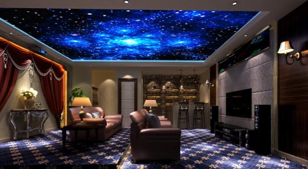 潮白河孔雀城350㎡简欧风格地下影音室效果图。
