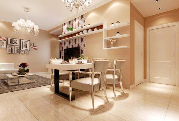 这个二居室没有单独的餐厅,利用客厅隔离出来的空间设计成一个独立的用餐区,增加整体空间的实用性。带储物功能的餐厅背景墙设计,利用墙面空间,合理规划不仅增强了整个空间感,同时也通过家具凸显了时尚之感。