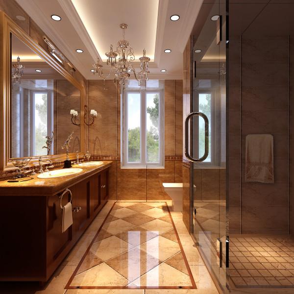 丹麦小镇欧式古典风格别墅装修卫生间效果图。