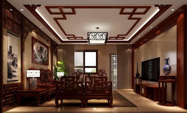 鲁能七号院300㎡中式风格别墅客厅效果图。
