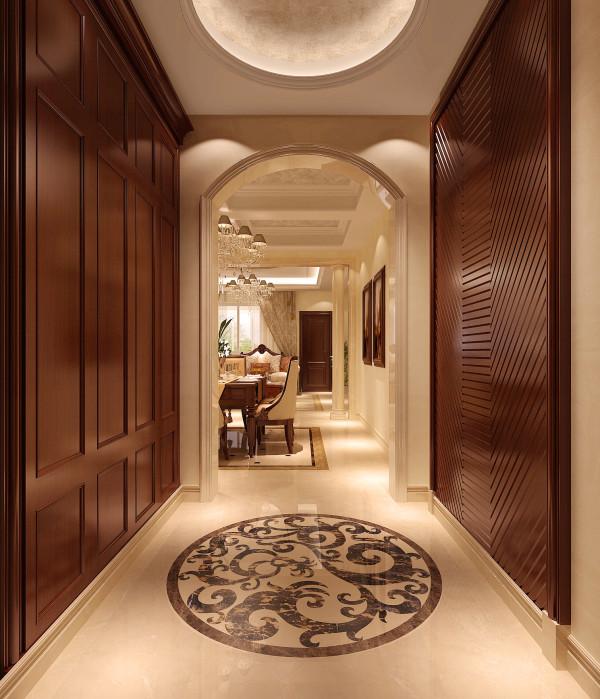 门厅的拼花设计,就是通过大理石来做的,由于大理石的纹理是任何仿大理石的砖都无法替代的,所以做出来的效果很是完美,纹理自然明朗
