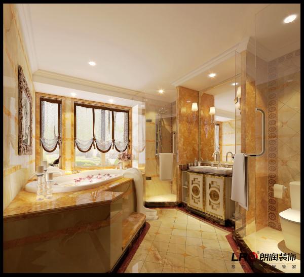卫生间精致的浴室柜以及奢华唯美的浴缸设计,用每一个细节彰显品质生活。