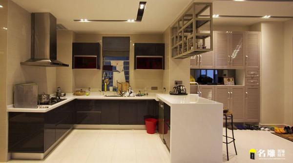 名雕装饰设计-桑泰丹华三期四居室-开放式厨房