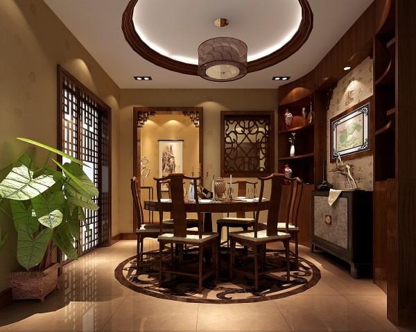 鲁能七号院300㎡中式风格别墅餐厅效果图。