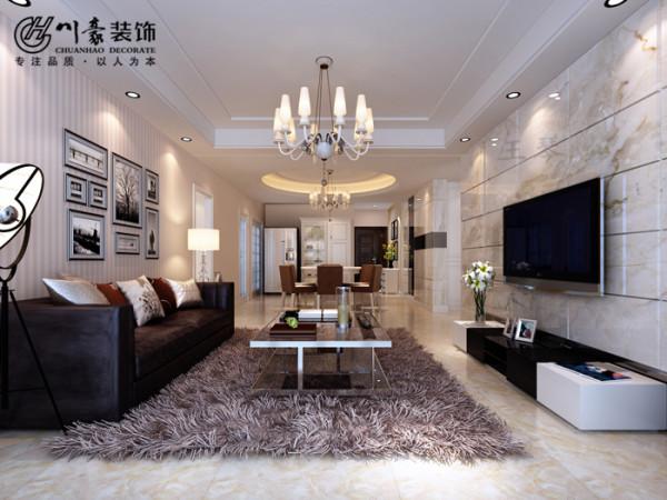 广视花园148㎡现代简约,客厅装修效果图,合肥川豪装饰公司。