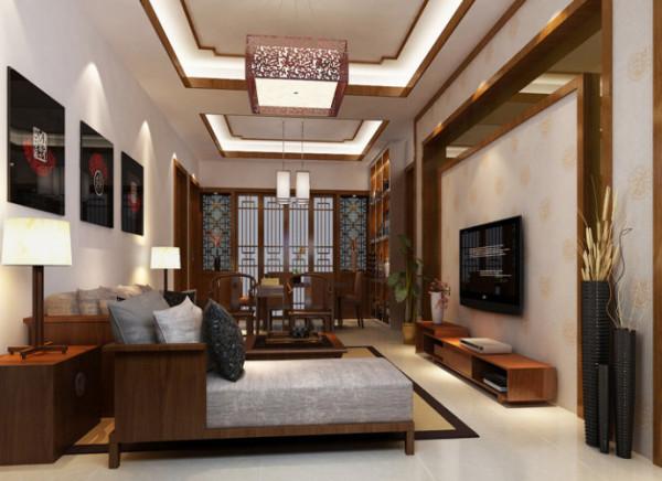 从墙面到顶面,材料上中式元素主要有木线条,木饰面,中式花纹墙纸;现代元素主要是灰镜,现代吊灯。整个空间看,传统中透着现代,现代中揉着古典。