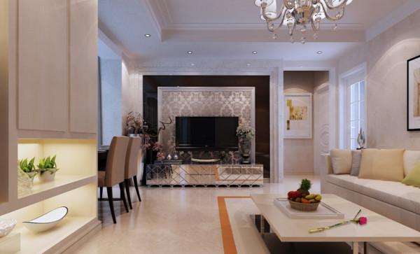 因为本身厅是比较小,沙发的后面采用了浅色壁纸,会显得比较大气,更有张力,电视墙那面色调以暖色调为主,加上镜面点缀,细致清新。