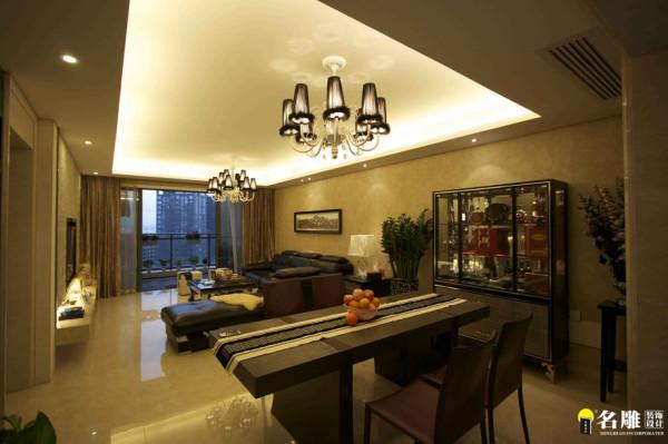 名雕装饰设计-现代简约客厅餐厅全景