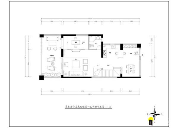 名雕装饰设计-桑泰丹华三期四居室一层户型图