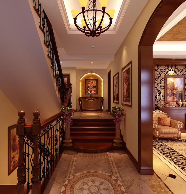 丹麦小镇欧式古典风格别墅装修门厅效果图。