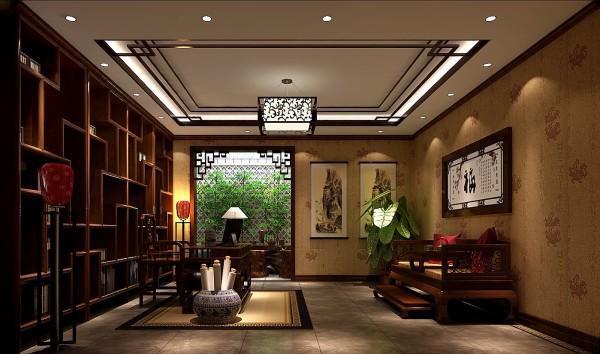 鲁能七号院300㎡中式风格别墅书房效果图。