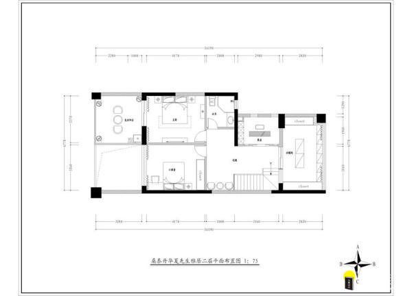 名雕装饰设计-桑泰丹华三期四居室二层户型图