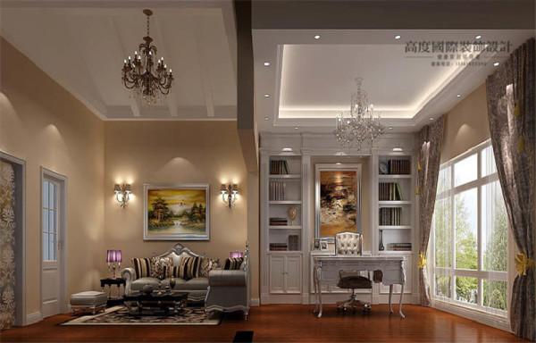 书房效果图:白色书架、书桌给人安静感觉,落地窗既可以增加书房的亮度,同时,也有利于主人疲倦时放眼外景。