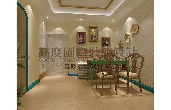 运用蓝绿色的踢脚线与整个空间的色调进行搭配,餐桌的选择与装饰画的搭配,整个空间很有情调。