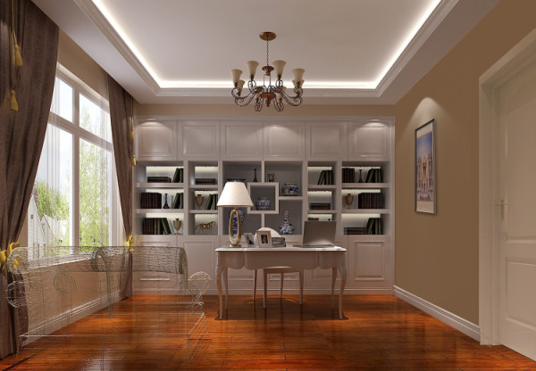 二层书房,体现了现代生活快节奏、简约和实用,但又富有朝气的生活气。在色彩上,采用柔和的中性色彩,给人优雅温馨、自然脱俗的感觉。在材质上,运用暖色墙漆等,将传统风韵与现代舒适感完美地融合在一起。