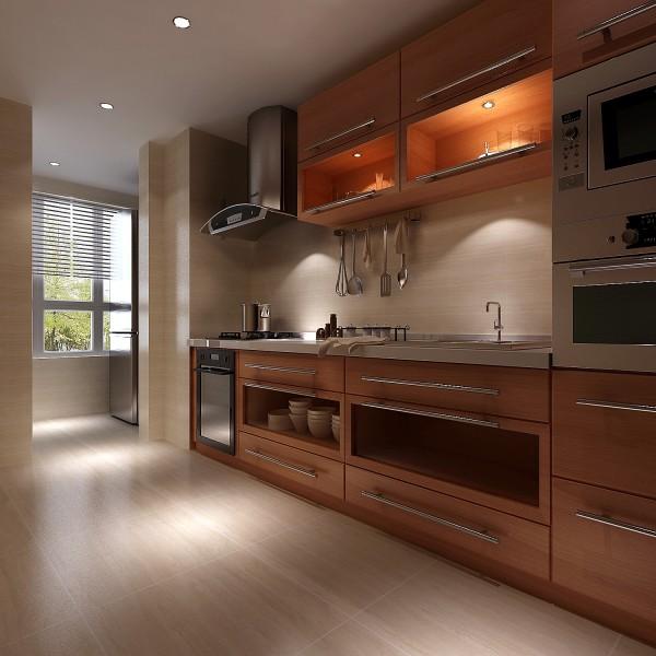 长方形的橱柜放在一面墙上,让厨房的空间更大