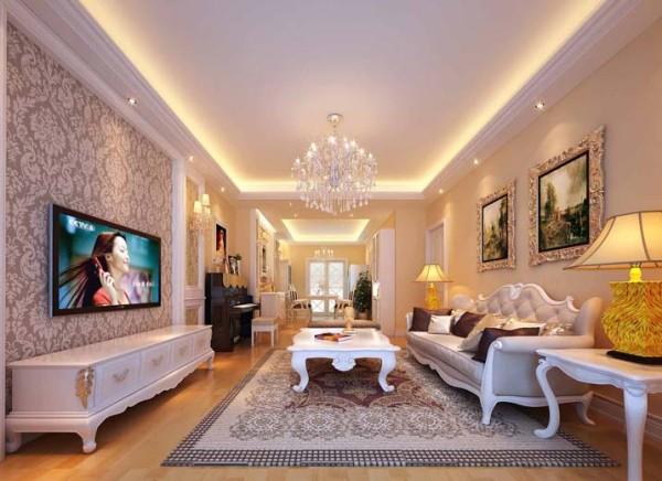 欧式式风格不止是高贵奢华,还有舒适和优雅。本案中着重表现法式风格中舒适、优雅、安逸的气质。整体以白色为基调,简洁的石膏线条,素色卷草壁布,白色素线护墙板,体现了本案的设计宗旨