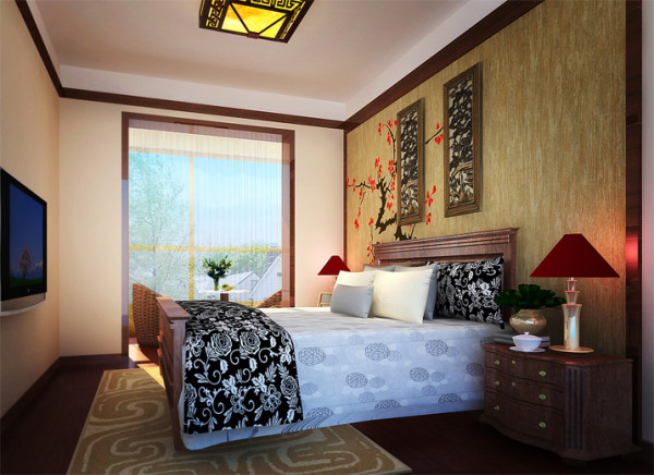 床头整体造型,整合了床组、书桌与休闲沙发,使空间更具整体感。一幅意境悠远的装饰画,简单写意,悠然自得,更为空间营造出一种尊贵的气氛。