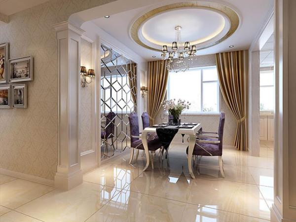透过造型银镜将紫色毛绒家具,光芒璀璨的奢华水晶灯,延伸出空间的奢华意蕴。醒目的花艺、饰品点缀为空间增添浪漫优雅情怀。