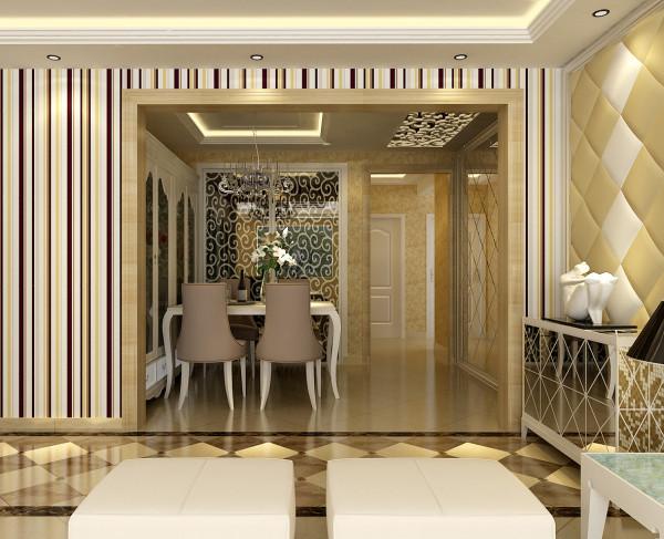 餐厅的顶面则采用了木板雕花为吊顶不仅没有影响层高而且增加了视觉效果,墙面的处理采用了镜面来让整个餐厅空间得到了视觉上的放大也不失镜面带给我们的大气