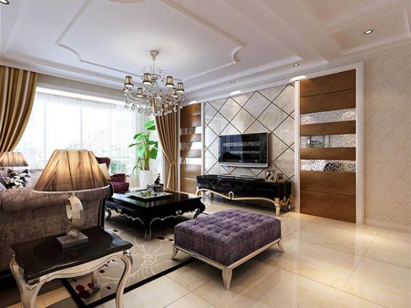 客厅以开放方式规划,色彩艳丽的毛绒布沙发,搭配光芒璀璨的奢华水晶灯的设计,铺陈出空间整体大器奢华的感受。