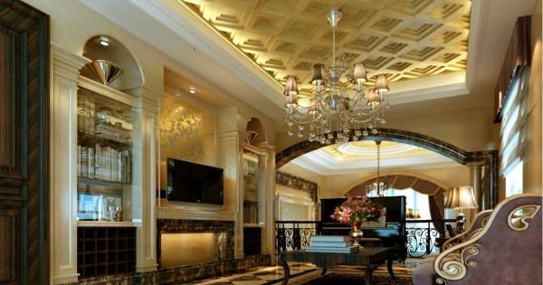 咖色欧式花纹图案墙纸从远处看十分简约,在白色的天花板、门板、欧式柱等勾勒下,略有拜占庭风味。深褐色仿古砖拼花地面,在各个空间表现各异,但过渡自然,合理划分出功能区域。