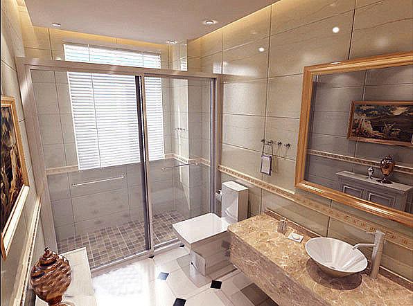 虽然这个卫生间本身并不大,华丽的灯具、镜子、小饰品、加上欧式壁画,整个卫生间自然而然就流露出一种西洋的雍容华贵的调子。