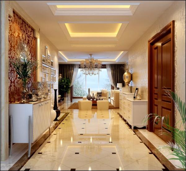 门厅:进行玄关处理,采用大理石门套线造型,配以照片墙,顶面配以的造型吊顶。
