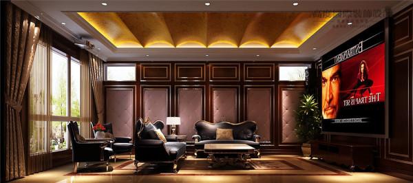 影音室效果图:个性化拱形吊顶增加空间维度,浅色软包既美观又实用。