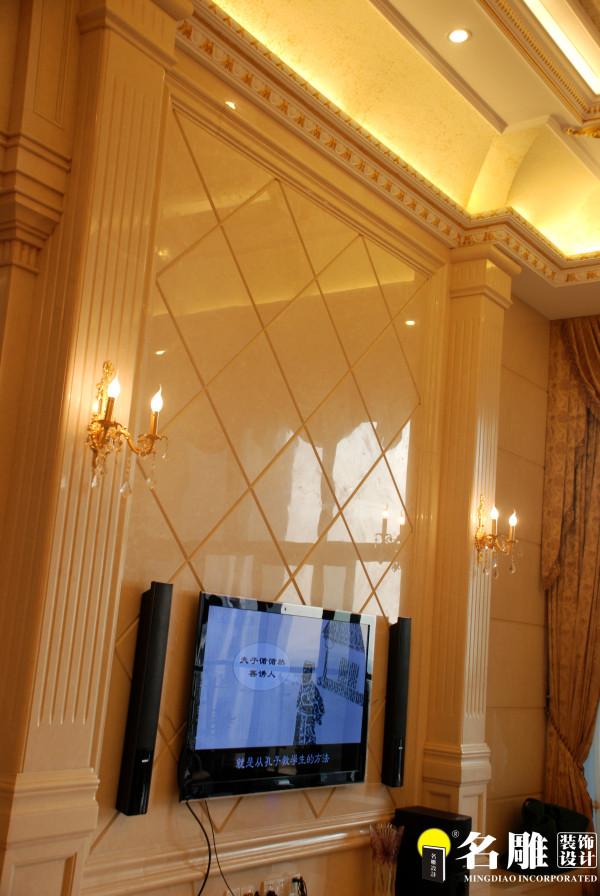 名雕装饰-宏发领域三居室-简欧风格-客厅电视背景