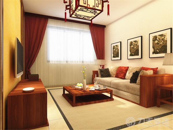 客厅区域,可以放置三加二的沙发,一个茶几,对面挂电视的位置。
