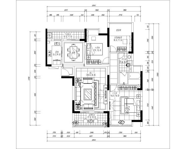 郑州实创装饰-蓝天小区120平三居室-平面布置图