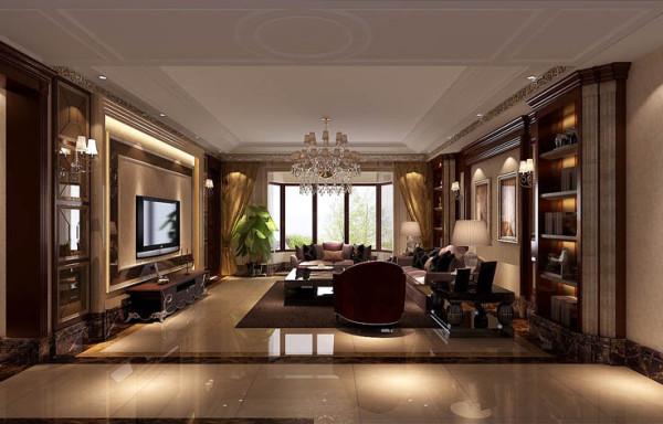 客厅选用了具有古典气息的美式沙发,与奢华的水晶挂灯、壁灯相呼应,显示了主人的高贵品质、品味。