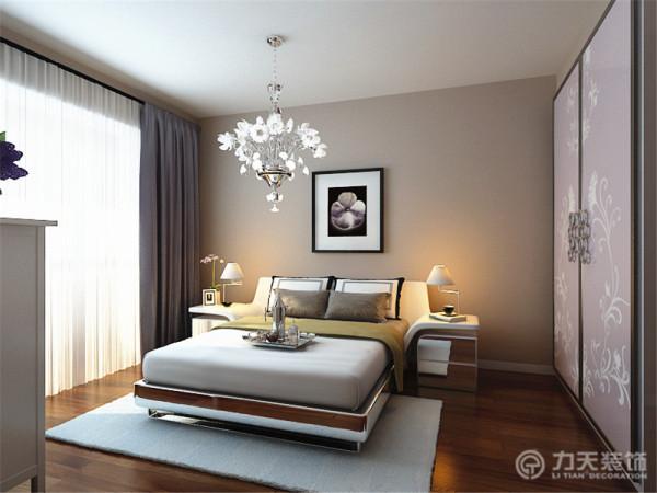 次卧室采用的也是简单大方的家具,整体颜色也是浅咖色乳胶漆。