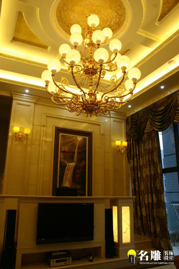 名雕装饰设计-宏发领域复式楼阁-简欧风格客厅电视背景