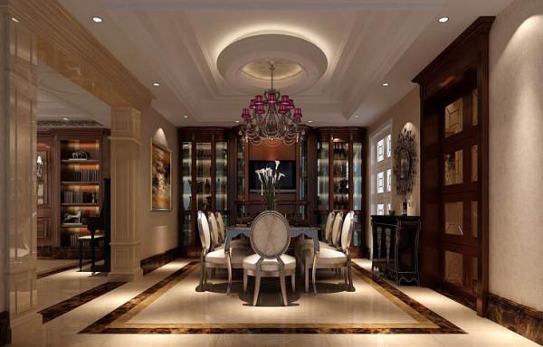 餐厅的餐桌,与圆形吊顶相呼应,加上流线的餐椅,在此就餐就是一种享受。餐厅背景玻璃酒柜和玻璃推拉门的利用,使餐厅的空间得到了伸展、延伸。