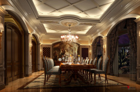 欧式 别墅 高富帅 白富美 公主房 名雕丹迪 兰乔圣菲 餐厅 餐厅图片来自名雕丹迪在欧式古典—500平奢华别墅装修的分享