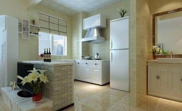 敞开式厨房的橱柜台面做了一些色差,突出空间色彩感,餐桌与沙发楼梯阳台的地台等家具饰品色彩比运用比较多,让整个空间看起来色彩非常丰富,使空间不会那么单一