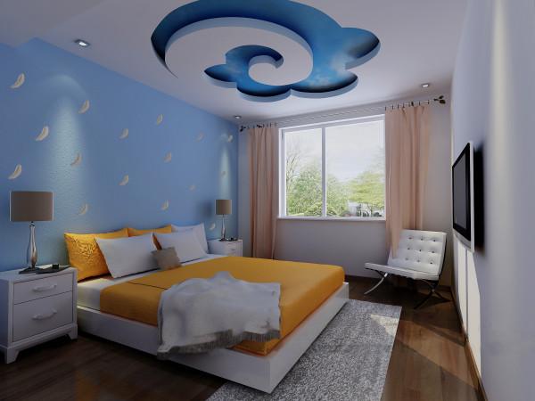 主卧室除了正常的家具摆放,头顶的蓝天白云是设计亮点,添加浪漫情怀。
